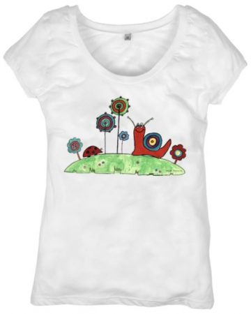 Abstract snail and flowers t-shirt