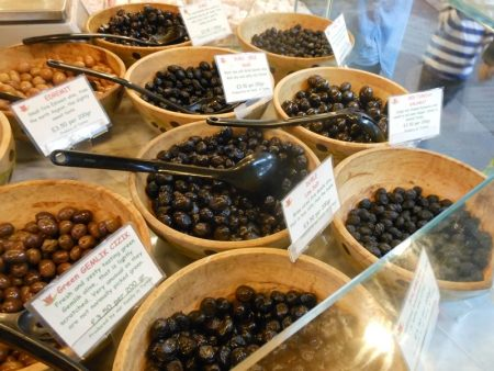 Turkish olive stall at Borough Market