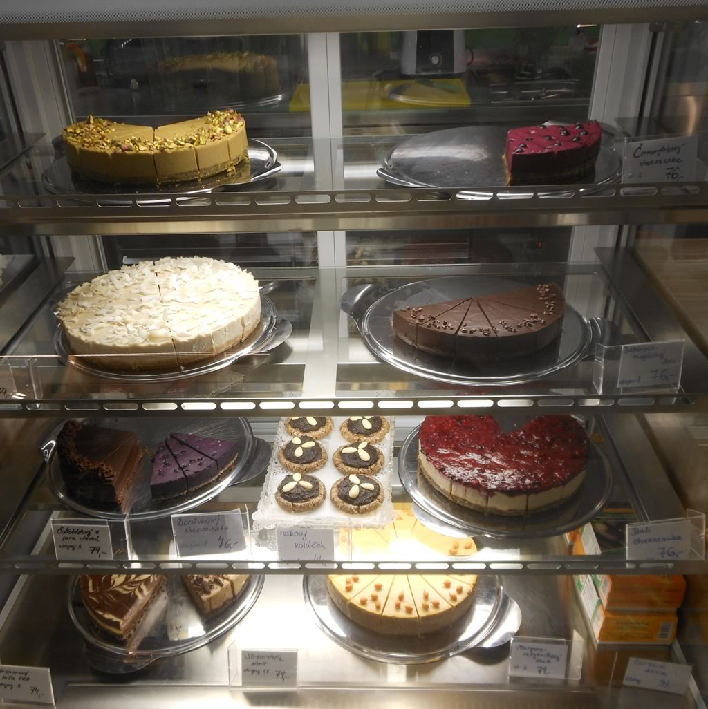 Fridge of raw cakes