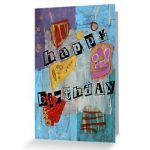 Happy Birthday Card with abstract art